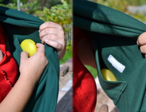 Mit praktischer versteckter Tasche