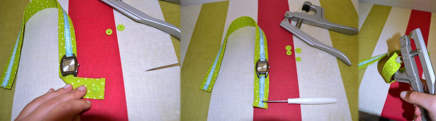 Armband umlegen, um den Platz des Druckknopfes zu markieren. Markierte Stelle durchpiecksen , Konpfteile aufstecken und mit der Zange festdrücken.