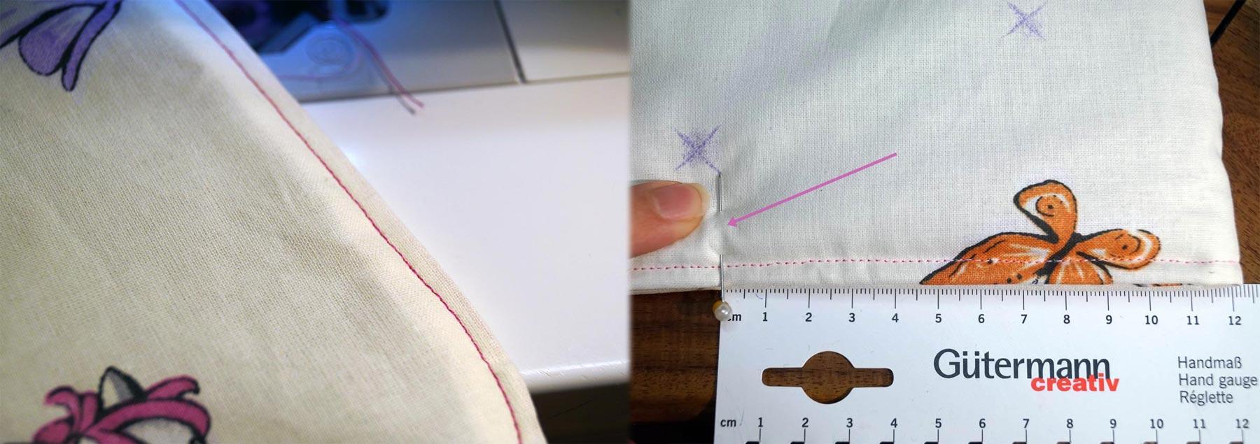 Kante absteppen und danach Hauptteil aufeinanderlegen und bei 12 cm vom Brauch aus eine Stecknadel-Markierung setzten.