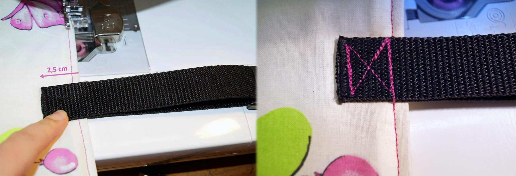 Gurtband zuschneiden. Gurtband an der rechten Seite  entsprechend der Anleitung anlegen., mit einem Kreuz festnähen und gut verheften.
