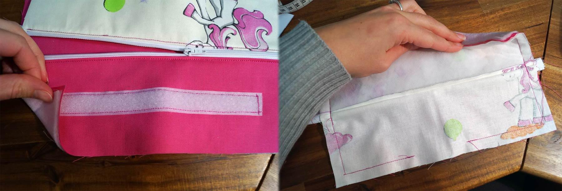 Auf der pinken Seite wird das Klett angebracht. Danach rechts auf rechts legen und zusammennähen. Wendeöffnung nicht vergessen!
