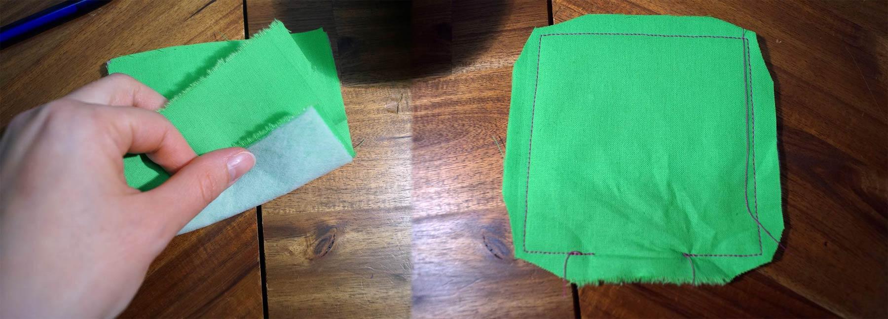 Stoff fürs kleine Fach rechts auf rechts legen und mit Berücksichtigung einer Wendeöffnung ca 1 cm breit zusammennähen. Ecken zurückschneiden, wenden & bügeln.
