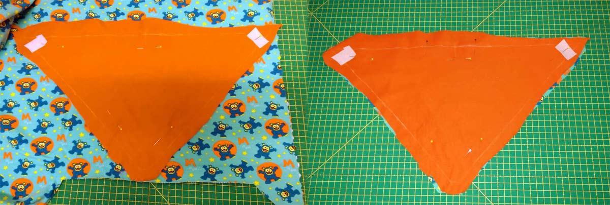 Die beiden gewählten Stoffe rechts auf rechts zusammenlegen, zurechtschneiden und Wendeöffnung markieren.