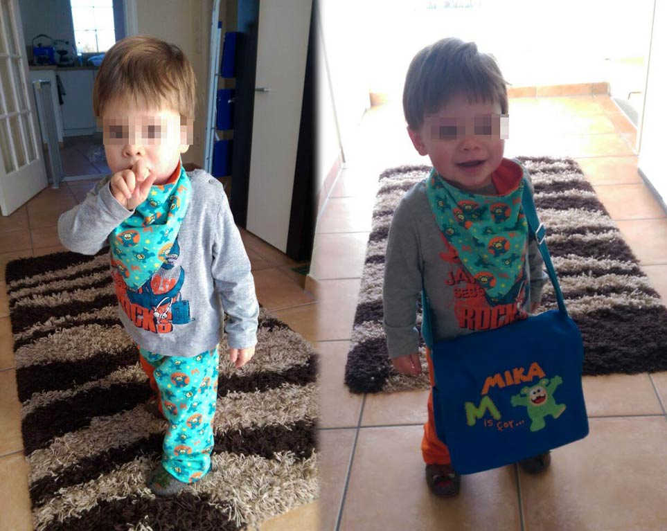 Links: Da ist jemandem sein neues Accessoire wohl noch nicht ganz geheuer - Rechts: Gekonnt gepost mit einem zufriedenem Lächeln im Gesicht!