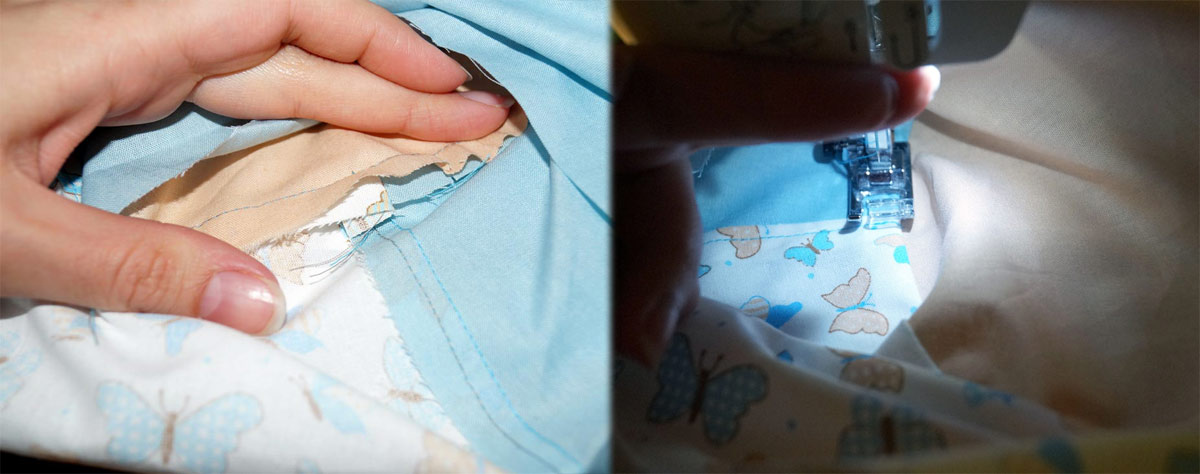 Die Naht wird nun nach unten geklappt und auf dem Hutrand 5 mm breit abgesteppt.