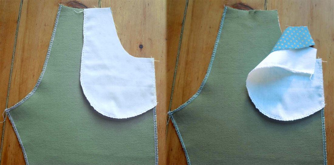 Wenn die Schnitteile richtig gelegt sind, sollte es auf der linken Stoffseite so aussehen.