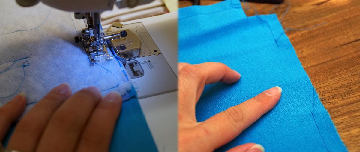 Die langen Seiten und dann die kurzen Seiten jeweils 1 cm breit zusammennähen, wobei wir an der kurzen Seite eine Wendeöffnung lassen.