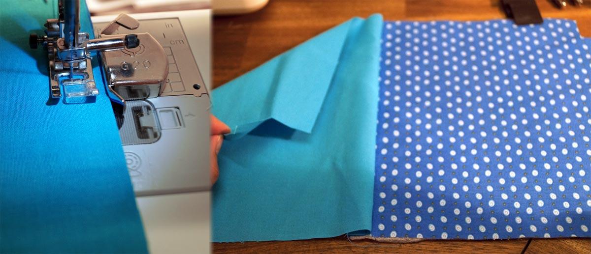 Die obere Kante 1 cm breit zusammennähen damit es so danach so aussieht wie auf dem rechten Bild.