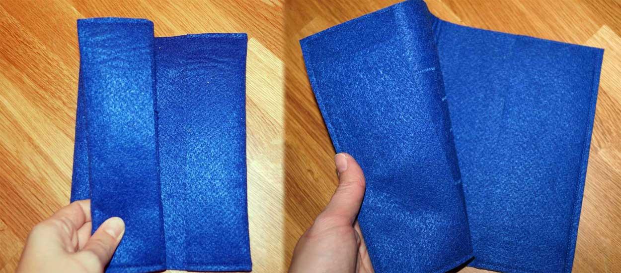 Links: Variante mit umgeschlagenen Rändern - Rechts: Variante 2 mit extra angenähten Seitenlaschen.