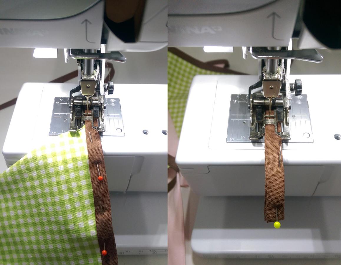 Bild13 - Beim Nähen darauf achten, dass das Schrägband richtig liegt und die Wimpel nicht herausrutschen.